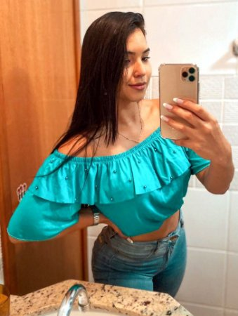 T-SHIRTS CROPPED CIGANINHA COM PÉROLAS VERDE ÁGUA TAMANHO ÚNICO
