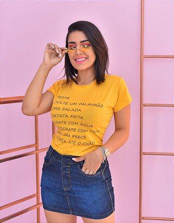 T-SHIRTS VISCOLYCRA FEMININA AMARELO MEDITE PALAVRÃO