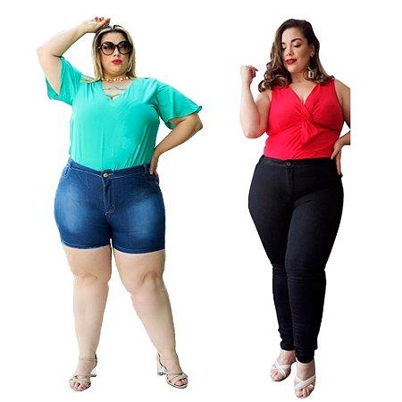 Combo Calça e Shorts Jeans Feminino Plusize Peças Variadas