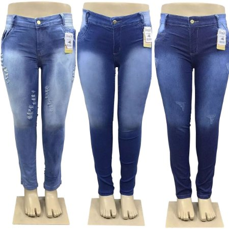 Kit C/ 4 Calças Jeans Femininas Plusize
