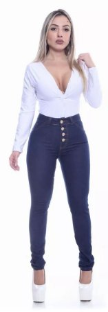 Calça Jeans Feminina Azul de 4 Botões  com Lycra