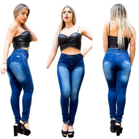 Calça Jeans Feminina Skinny com  Lycra Cintura Alta