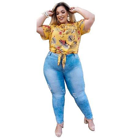 Calça Jeans Feminina Plusize Clara Rasgadinha