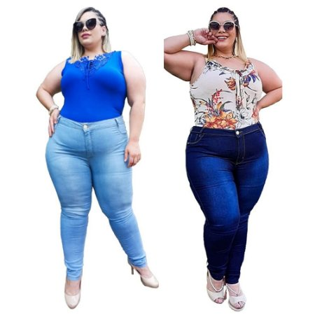 Kit com 2 Calças Jeans Feminina Plusize
