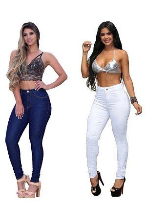 Combo com 2 Calças Jeans Feminina Cintura Alta Com Lycra