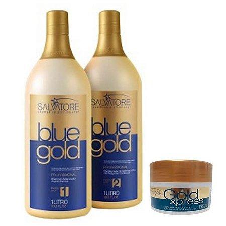Salvatore Blue Gold Progressiva + Máscara Gold Xpres De 250g