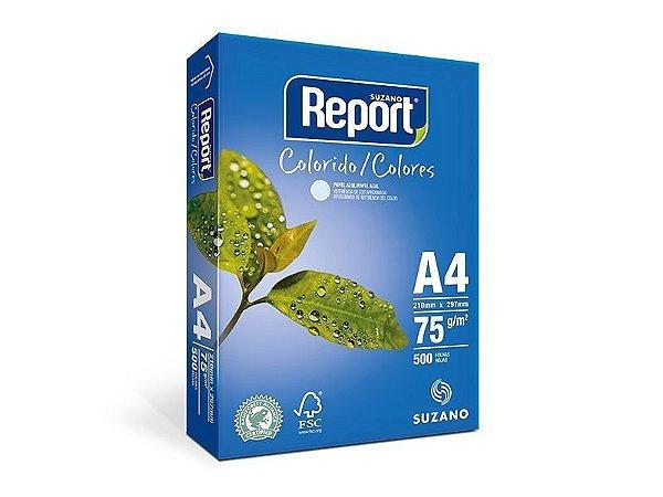 Suzano Report® Colorido Azul A4 - 75g - CAIXA com 5 Pacotes