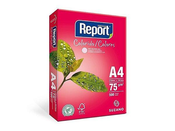 Suzano Report® Colorido Rosa A4 - 75g - CAIXA com 5 Pacotes