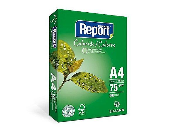 Suzano Report® Colorido Verde A4 - 75g - CAIXA com 5 Pacotes