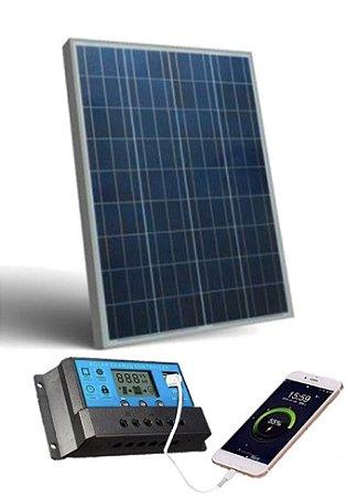 Kit energia fotovoltaica com painel de 150w e controlador digital