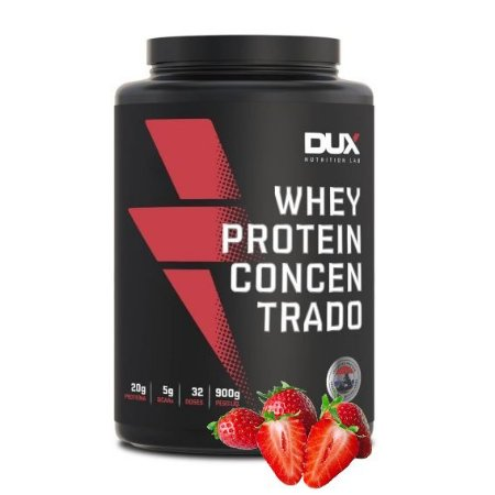 Whey Protein Concentrado 900g Morango Dux Nutrition