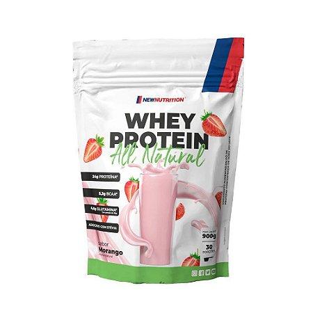 Whey Protein 900g Morango All Natural Newnutrition