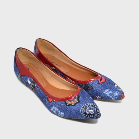 bfe930e889 Sapatilha Bico Fino jeans Punk Rock - Rosachoque calçados femininos