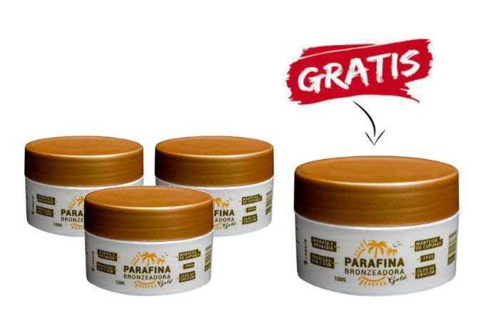 3 Parafina Bronzeadora Gold 120g + 1 Parafina Grátis!!