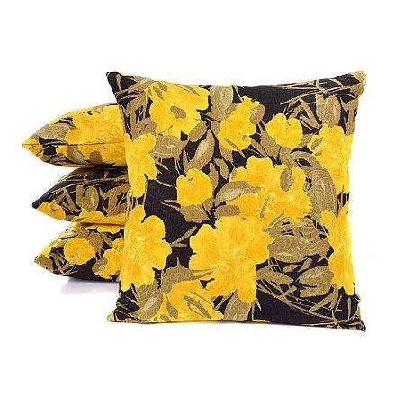 66452b6b31154b 04 Capas para Almofadas Jacquard Floral Amarelo 45 x 45cm