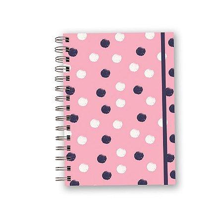 Caderno A5 Rosa - Poá Branco e Azul