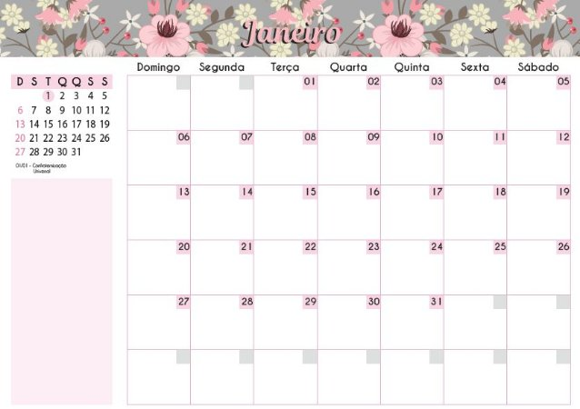 Calendário de Planejamento 2019 - Floral