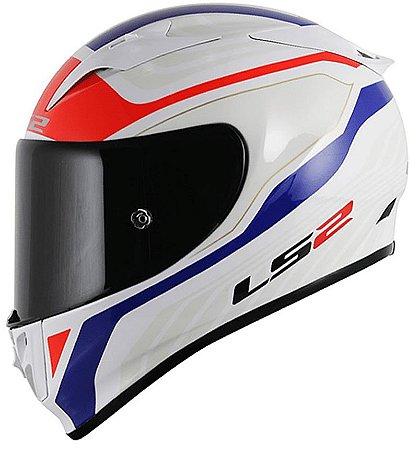 Capacete LS2 ff323 Arrow R Burner Branco Azul e Vermelho