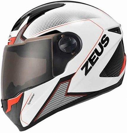 Capacete Zeus 811 Evo Speedster AL6 Branco Preto e Vermelho