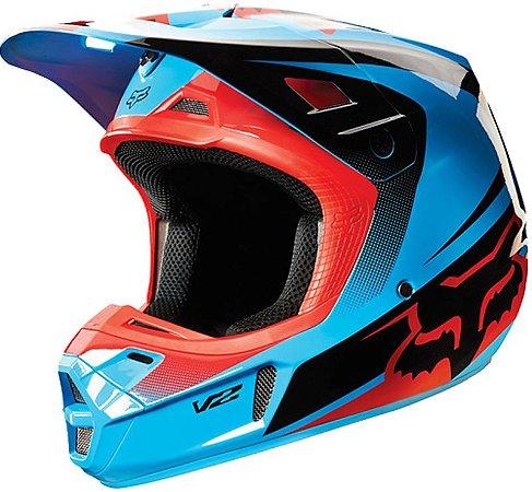 Capacete Fox MX V2 Imperial 15 Azul Preto e Vermelho
