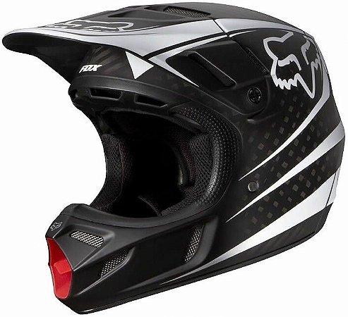 Capacete Fox MX V4 Carbon Reveal 15 Preto e Branco