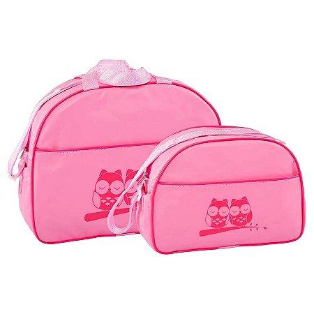 Conjunto Bolsa Maternidade Rosa Coruja Lilian Baby