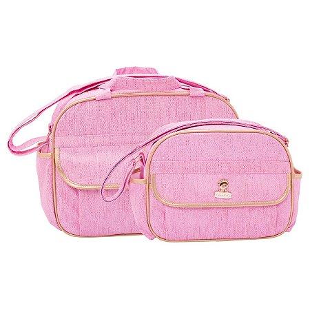 Conjunto Bolsa Maternidade Jeans Rosa Com Dourado Lilian Baby