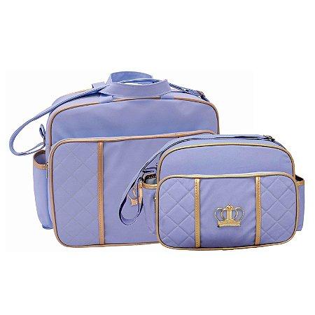 Conjunto Bolsa Maternidade Azul Com Dourado Coroa Lilian Baby