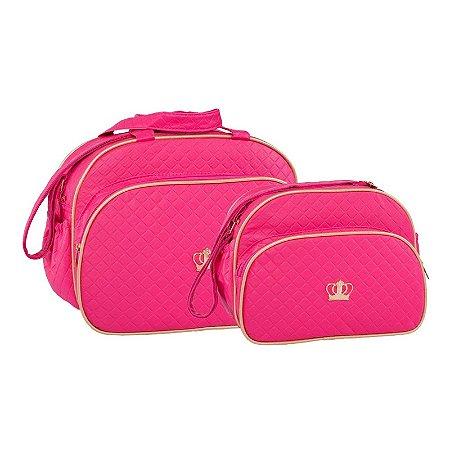 Conjunto Bolsa Maternidade Pink Coroa Dourada Lilian Baby