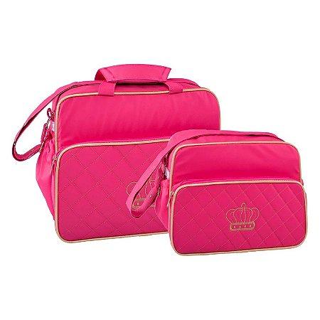 Conjunto Bolsa Maternidade Pink Bordado Coroa Lilian Baby