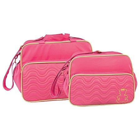 Conjunto Bolsa Maternidade Pink Com Dourado Ursa Lilian Baby