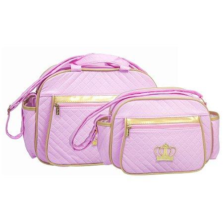 Conjunto Bolsa Maternidade Coroa Rosa Dourado Lilian Baby