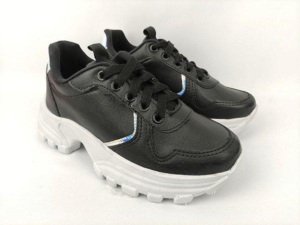 Tênis Chunky Sneaker Energy Preto com Prata