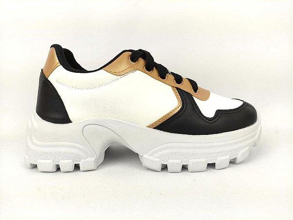 Tênis Chunky Sneaker Energy Branco com Preto e Bronze