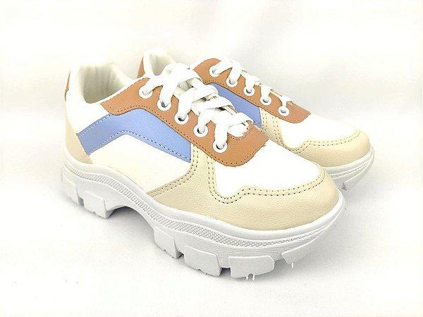 Tênis Chunky Sneaker Energy Branco Off White Acqua Tons Pasteis