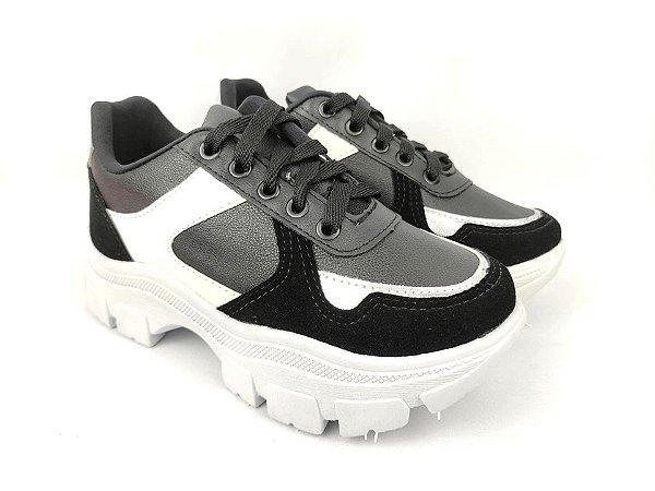 Tênis Chunky Sneaker Energy Preto com Prata e Branco
