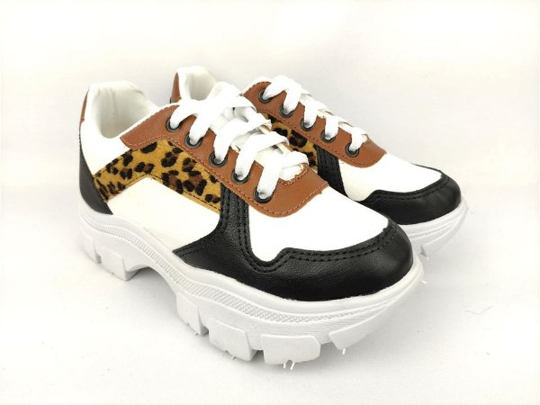 Tênis Chunky Sneaker Energy Branco Onça com Preto