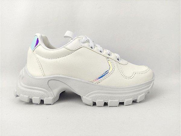 Tênis Chunky Sneaker Energy Branco com Prata