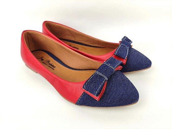Sapatilha Vermelha com Jeans Laço Pequeno