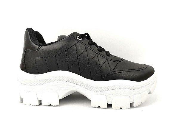 Tênis Chunky Sneaker Preto Clássico Matelassê