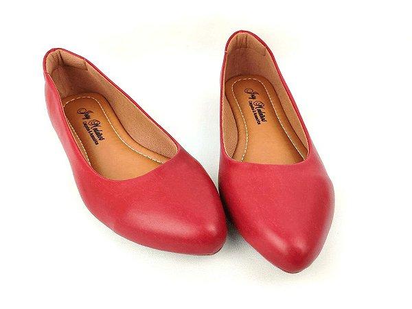 Sapatilha Vermelha Básica Clássica com Bico Fino