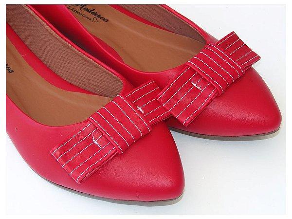 Sapatilha Vermelha Laço Quadrado Bico Fino