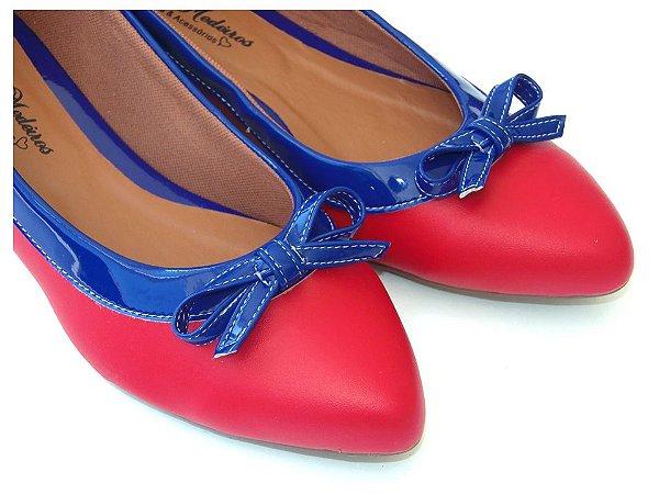 Sapatilha Vermelha Com Azul Laço Bico Fino