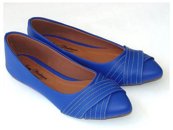 Sapatilha Azul Costura Bico Fino