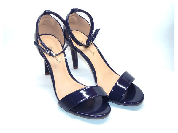 Sandália Azul em Verniz Tira Única