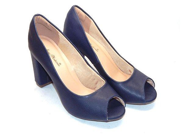 Peep Toe Azul Clássico Salto Alto Grosso - Linha Premium