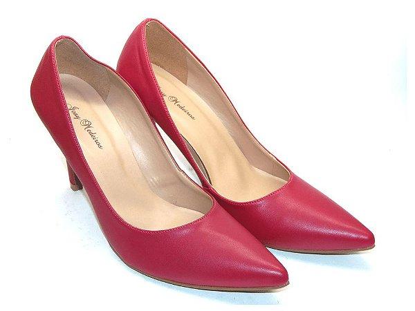 Scarpin Vermelho Clássico Bico Fino