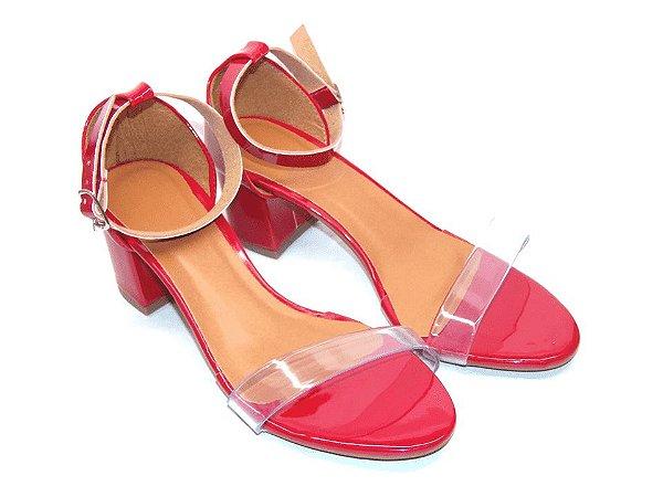 Sandália Vermelha com Tira Transparente Salto Grosso