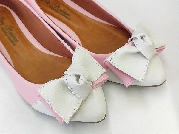 Sapatilha Rosa Claro com Laço Grande Branco