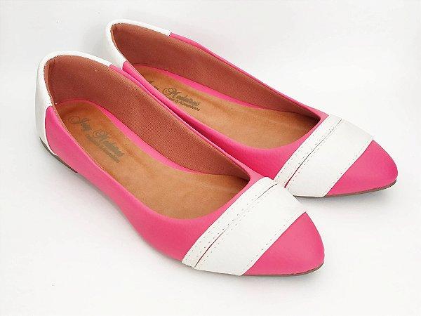 Sapatilha Rosa Pink com Faixas Brancas Bico Fino